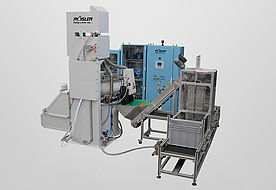 Combined washing and drying system for completely automatic processing including part handling.