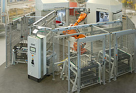 Multi-level process with robot handling for a full-automatic process