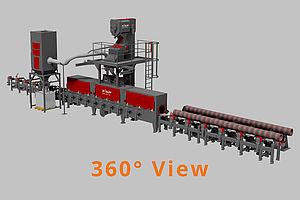 360 View of a continuous feed tube and bar blast machine RDR